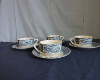 Currier and Ives Blue & White Coffee/Tea Cup and Saucer Set of 4