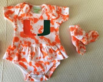 Miami baby etsy um university of miami ruffle onesie headband socks tie dye hand painted negle Image collections