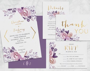 Floral Watercolor & Gold Foil Wedding Invitations and Wedding Suite - Customizable Printable Wedding Invitation Kit - Digital Download