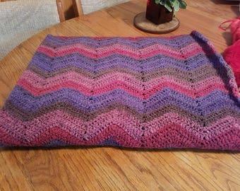 Crocheted acrylic/wool blanket
