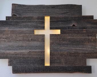 Backlit Barn Wood Cross