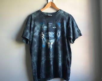 90s Blue Green Tie Dye T-shirt - L