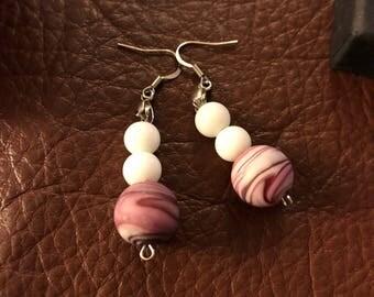 Pink swirl and white glass bead dangle earrings