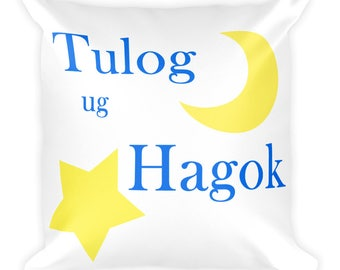 "Square Pillow Pinoy Bisaya ""Sleep and Snore"" Philippines Print"