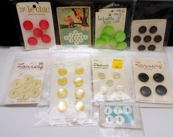 Vintage Button Lot - 11 Sets on Original Cards
