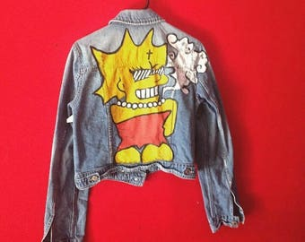 Hand Painted 80s Denim Jacket