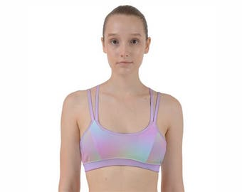 Rainbow Sports Bra | Rainbow Workout Bra | Strappy Sports Bra | Exercise Bra | Printed Workout Bra | Holographic | Hot Yoga Bra