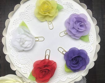 Chiffon Flower Planner Clips