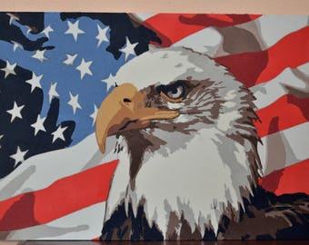 American Flag Bald Eagle Handmade MarbleSand Art with glow in the dark