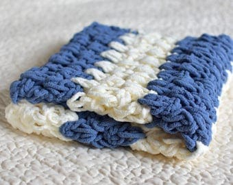 Blue and White Striped Crochet Baby Blanket (Car Seat / Stroller Size)