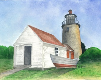 Monhegan Light (Maine) - original watercolor