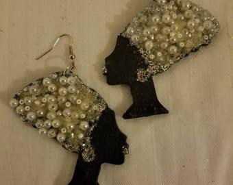 Pearl Nefertiti Dangle Earrings