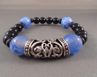 Black, Blue and Silver shimbala style bracelet