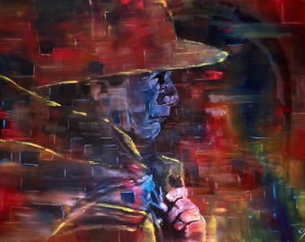 Oil on canvas painting. Dark colored, figurative and large painting. Abstract portrait of an native man from the Andes. Original painting.