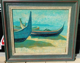 Old Vintage Oil Painting Coastal Portugal Boats Landscape Martha Liebert Signed
