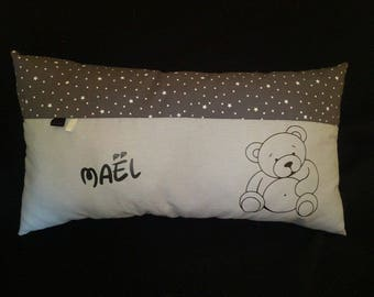 Personalized name bear cushion