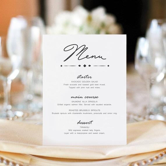Script Calligraphy Wedding Menu Place Card Template Printable - Menu place cards template