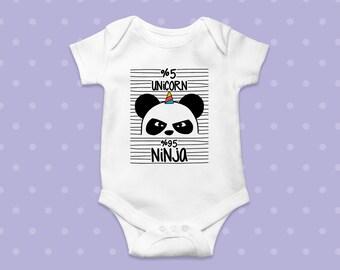 5% Unicorn, 95 Ninja.funny unicorn, comfortable bodysuit, baby boy outfits, baby girl outfits. Infant Bodysuit