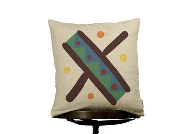 "Pillow Cover X monogram, bright color pillow cover, 16x16"", cotton cushion art cover, beige background, Multi-Coloured, Child-safe printing."
