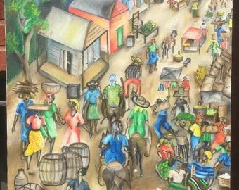 Haitian Oil Painting on Canvas L. ETIENNE 30 X 24 HAITI