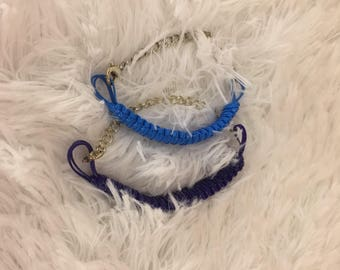 Square knot w/chain bracelet