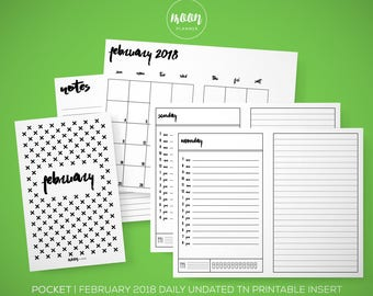 Pocket Size | February 2018 Undated Daily Calendar TN Printable Insert Planner - Traveler's Notebook, Foxy Fix No. 2 - INSTANT DOWNLOAD!