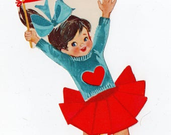 Vintage Cheerleader Valentine | Greeting Card | Valentine's Day, Valentines, Children, Kids, Dancer, Dancing, Sports, Cheer | Paper Ephemera