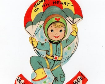 Vintage Child Parachute Valentine | Greeting Card | Valentine's Day, Valentines, Children, Kids, Pilot, Parachuting | Paper Ephemera