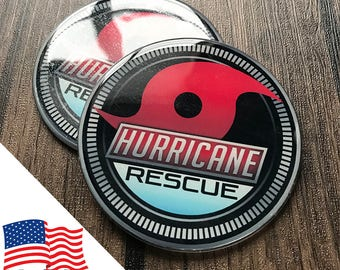 2PCS Jeep Wrangler Custom Badge Emblem (Trail Rated) 07-18 Hurricane Rescue Harvey