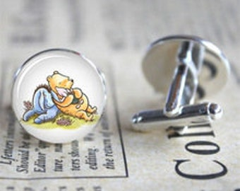 Winnie the Pooh cufflinks with Piglet and Eeyore . Silver Plated