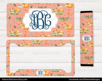 Monogram License Plate, License Plate Frame, Custom License Tag, Personalized Seatbelt Cover, Boho Floral Monogram, Floral License Plate