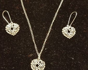 "Boutique...Order Now for Valentine... Silver Alloy Floral Heart Charm  18"" Silver Coated Necklace with Matching Earrings Set"