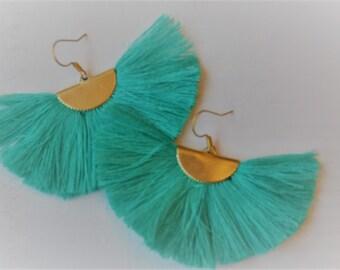 Turquoise Fan Tassel Earrings