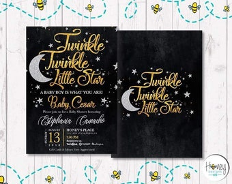 Twinkle Twinkle Little Star, baby shower, mom to be, new born, sweet dreams, shinny star, moon, digital invite, invitation, celebrate, party
