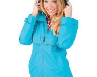 Solid Monogrammed raincoat/ Charles River Raincoat/ Monogrammed Rain Jacket