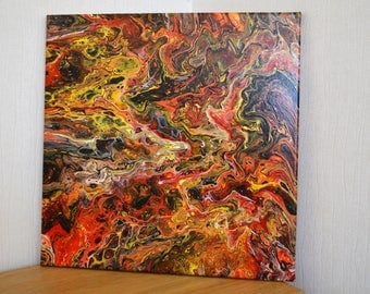 Eruption - An Original Acrylic Pour Abstract Painting 40 x 40cms Canvas - Red, Black, Yellow and Gold