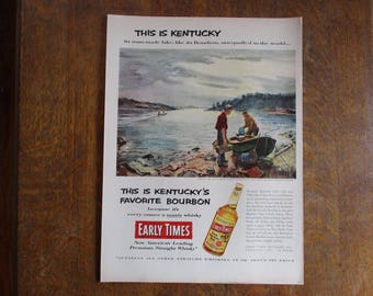 1953 Original Vintage Early Times Kentucky Straight Bourbon Whiskey ad