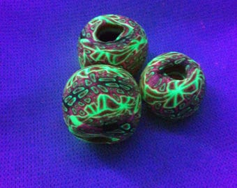 UV Active Dreadlock pearls/Dreadperlen; Dreadschmuck; UV Beads