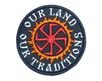 """Embroidered PATCH """"Our Land - Our Tradititions"""""""
