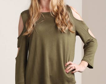 Olive Cut Out Sleeve Blouse