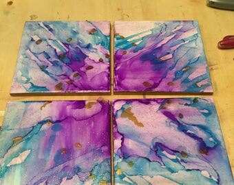 Unique Ink Art Tile Coasters (set of 4)