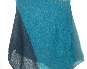 Blue Poncho made of mohair/silk
