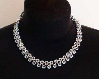 Double row chainmaille and hex nut necklace.
