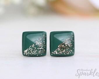 Dark green stud earrings, Olive green gold studs, Jade studs minimalist, Titanium earrings, Bridal green studs, Woman Gift, Wife gift