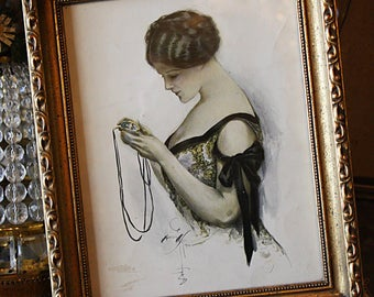 Antique Flapper Framed Lithograph