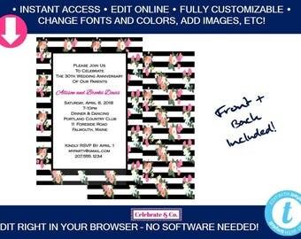 Floral Bridal Invitation, Bridal Shower Invitation, Bridal Shower Invite, Party Invitations, Instant Download, Fully Editable, F1