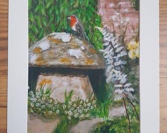 In the garden - toadstool art print