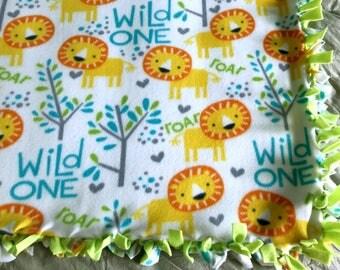 Safari Lion Fleece Tie Blanket | Safari Animal Fleece Blanket | Double Sided Baby Blanket | Lion Fleece Blanket | Toddler Blanket