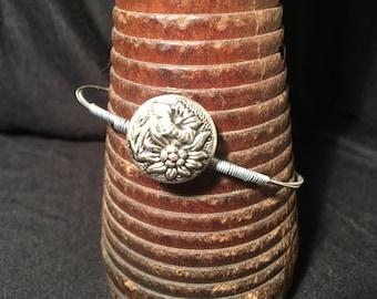 7 1/2 - Unique guitar strings bracelet with vintage buttons