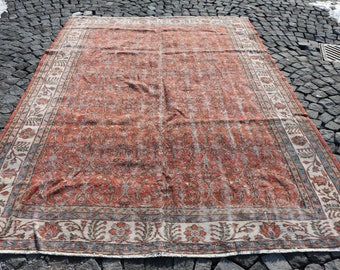 Oversize Turkish Rug Free Shipping 6.8 x 9.7 ft. Organic Natural Wool Rug Bohemian Area Rug Nomadic Floor Rug Pastel Color Rug MB36
